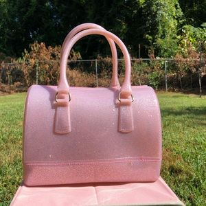 Handbags - NWOT Pink Glitter Jelly Bag Medium Satchel